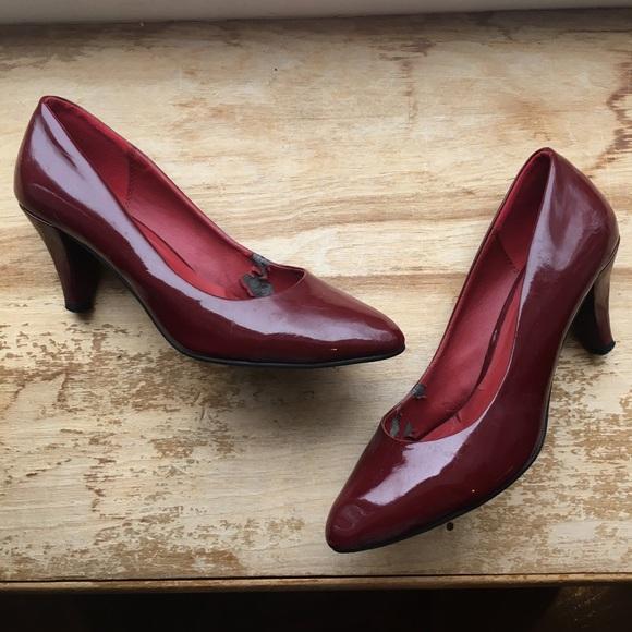 56387953478 Kitten Heel Pointed Toe Bridal Shoes … LADIES-BLACK-PATENT-PEEP-TOE -SLIP-ON-LOW-